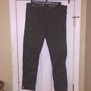 Gap Zippered Skinny Mini Khakis, Olive, 8